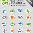Stock Vector: Stickers - Agriculture and Farming icons