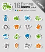 Stickers - Agriculture and Farming icons — Stock Vector