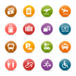 Colored Dots - Airport and Travel icons — Stock Vector