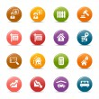 Stock Vector: Colored Dots - Real estate icons