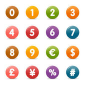 Colored Dots - Numbers & Currency icons — Stock Vector
