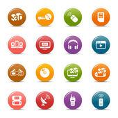 Barevné tečky - média a technologie — ストックベクタ