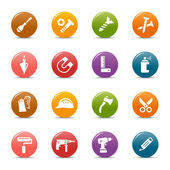 Colored Dots - Tools and Construction icons — Stock Vector