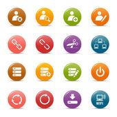 色のドット - ウェブサイトおよびインターネットのアイコン — ストックベクタ
