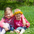 Little girls sitting in embrace in meadow — Stock Photo #12282565