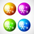 Vector Christmas shiny buttons with snowflakes — Stock Vector