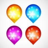 矢量与雪花圣诞闪亮按钮 — 图库矢量图片