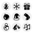 Vector black Christmas icons. Icon set — Stock Vector