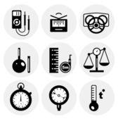 Vektorové ikony černé měření — Stock vektor