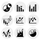 Vector black statistics icons — Stock Vector