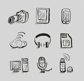 Hand drawn mobile devices vector black icon set — Stock Vector