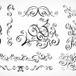 Vector calligraphic design elements: smooth floral lines — Vettoriali Stock