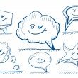 Hand drawn vector design elements: speech bubbles — Stock Vector