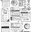 Hand drawn vector set of user interface design elements — ストックベクタ