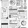 Hand drawn vector set of user interface design elements — Stok Vektör