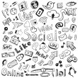Vector hand drawn icons: big set of modern social doodles — Stock Vector