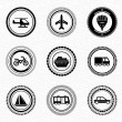 Black retro labels and badges: transportation — Stock Vector