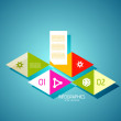Infographic banner design elements, numbered lists - Stok Vektr
