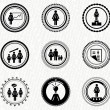 Vector set of vintage retro badges: business woman — Stock Vector