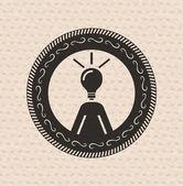 Retro Vintage etiket: insan düşünce, kaynak simgesi — Stok Vektör
