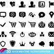 30 black web icons isolated on white — Stock Vector