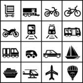 Vector vervoer pictogrammen geïsoleerd op wit — Stockvector