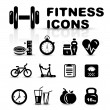 Black fitness icon set — Vector de stock #19974117