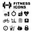 Black fitness icon set — Image vectorielle