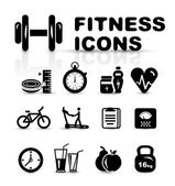 Black fitness icon set — ストックベクタ