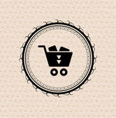 Vintage retro label : shopping cart icon — Stock Vector