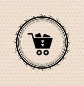 Vintage retro label : shopping cart icon — Stock Vector
