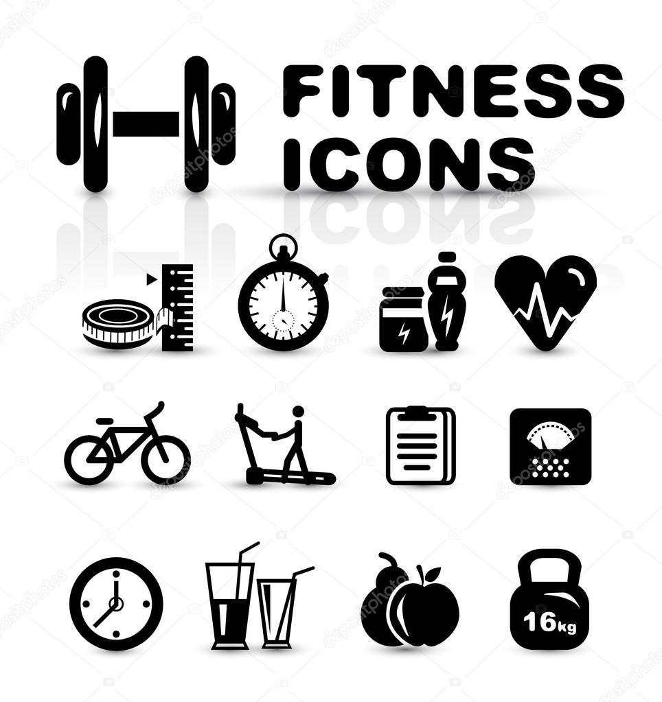 Black fitness icon set isolated on white — Stock Vector #19974117