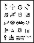 Black navigation icon set — Stock Vector