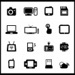Vector set of electronic and mobile devices - Stok Vektör