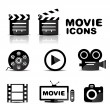 Movie black glossy icon set — Vector de stock