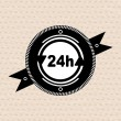 Vintage retro label | tag | badge : 24 hours icon - Stock Vector