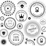 Black retro vintage quality guarantee labels — Stock Vector
