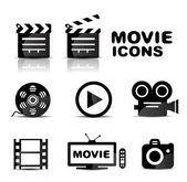 Movie black glossy icon set — Stock Vector