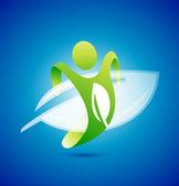 Ekologia człowieka symbol. koncepcja ochrony środowiska — Wektor stockowy