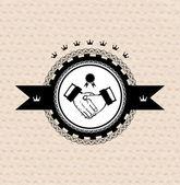 Vector retro label: stylized handshake — Stock Vector