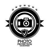 Protection de photo étiquette vintage rétro noire — Vecteur