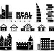Black real estate | houses | buildings icon set - Stock Vector