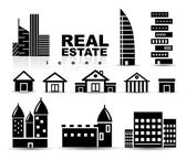 Black real estate | houses | buildings icon set — Stock Vector