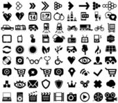 Big set of black universal web icons — Stock Vector