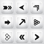 Set of square application buttons: arrows — Stock Vector