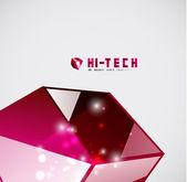 Modern 3d vector glass cube design template — Stock Vector