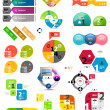 Set of colorful paper infographic design elements — ベクター素材ストック