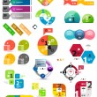 Set of colorful paper infographic design elements — Stock vektor