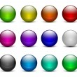 Colorful glass sphere buttons set — Stock Vector