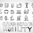 Hand drawn mobility icons doodles — Stock Vector
